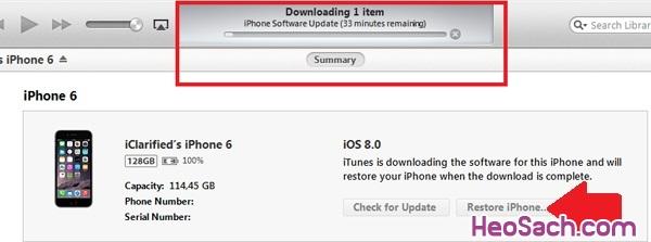 Hình 3 - Hướng dẫn khôi phục, Restore iPhone và iPhone 6 Plus