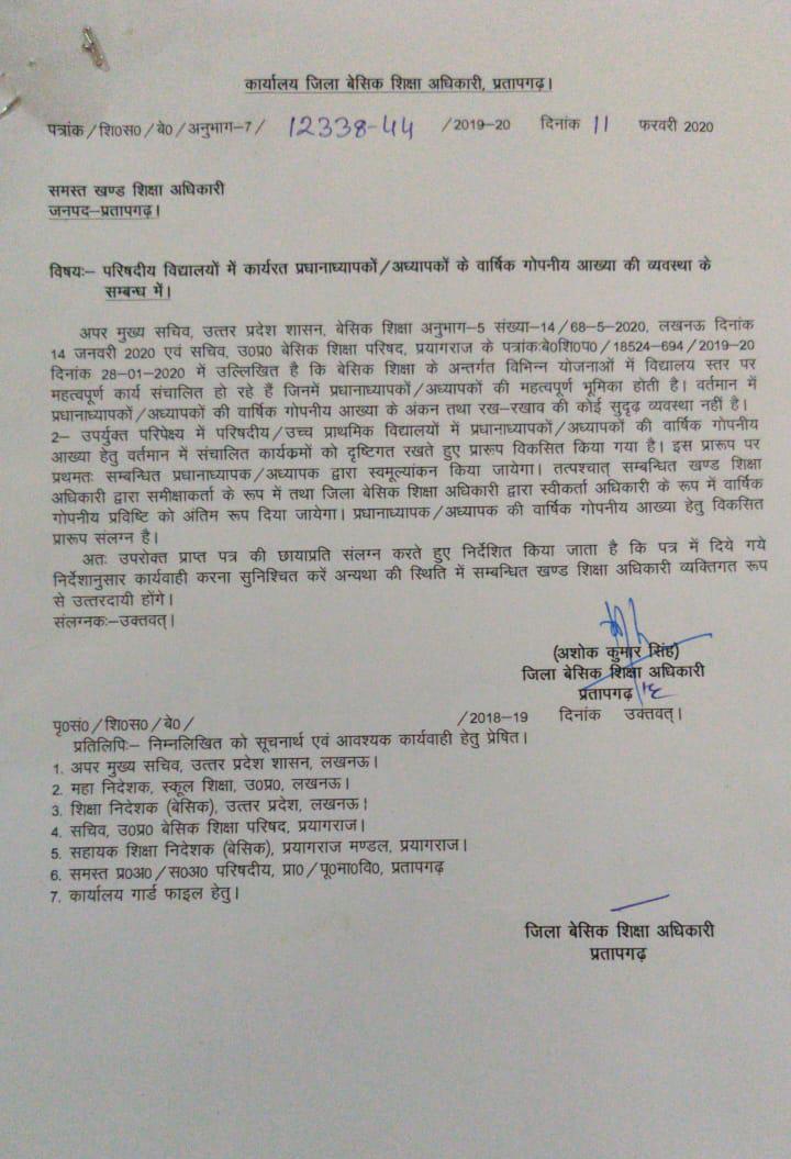 प्रतापगढ़ - बेसिक स्कूलों में तैनात शिक्षकों के वार्षिक गोपनीय आख्या के सम्बन्ध में bsa ने beo को जारी किए निर्देश