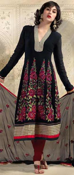 Photo: Black Faux Georgette Churidar Kameez  Itemcode: KDS92B  Price: US$ 98.15  Shop @ http://www.utsavfashion.com/store/sarees-large.aspx?icode=kds92b