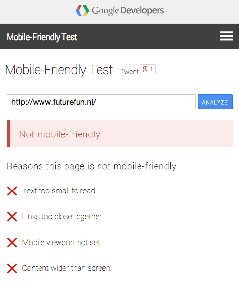 Mobile Friendly test voor Futurefun