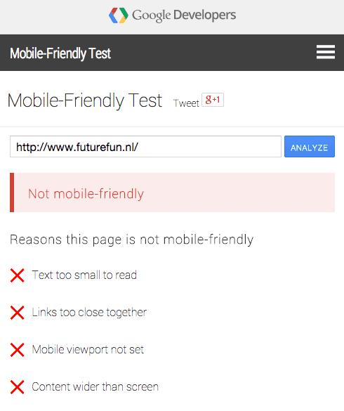 Mobile Friendly test voor Futurefun