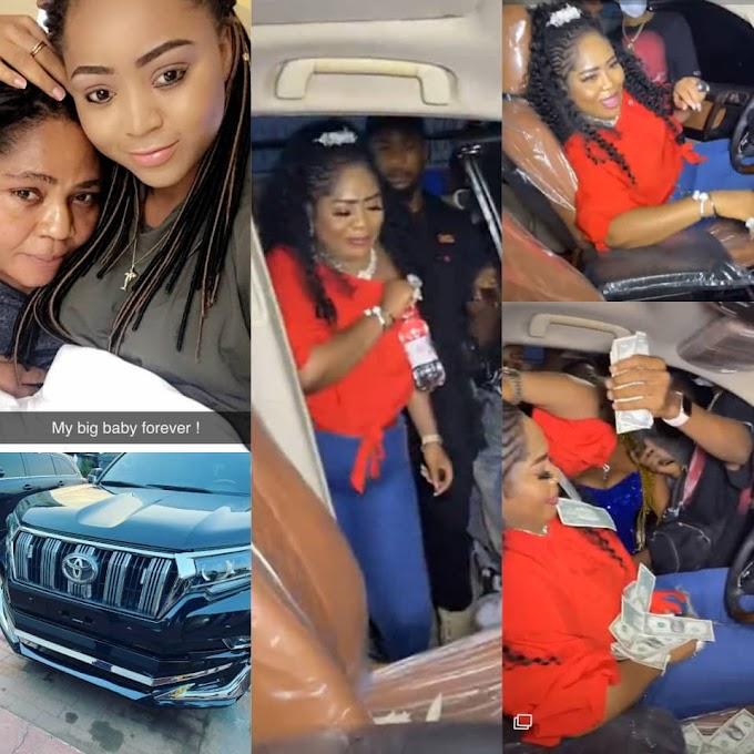 Rita Daniels sheds tears of joy as she receives Prado SUV as birthday present from her daughter Regina Daniels (photos/video)
