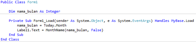 Cara Menampilkan Nama Bulan VB .NET 02
