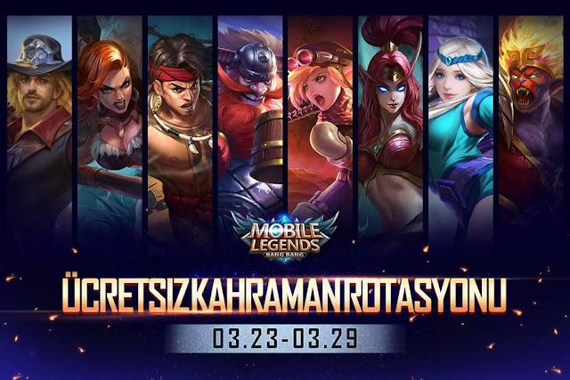 Ücretsiz Kahraman Rotasyonu 23 Mart - 29 Mart | Mobile Legends