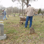 George Wilkerson mows and Owen Gleaves cleans up  the Gleaves - Clements Cemetery Hermitage, Tennessee