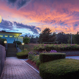 Sunset Walkway by Ed & Cindy Esposito - Landscapes Sunsets & Sunrises ( fence, sunset, walkway, light post. stairs )