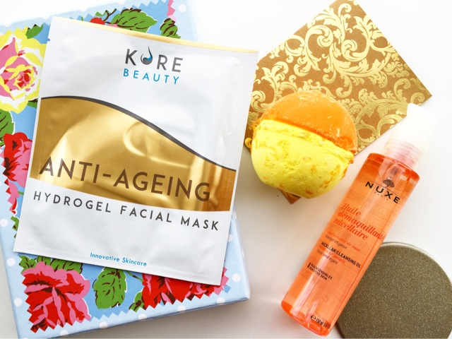 kore beauty hydrogel mask, nuxe micellar cleansing oil review, lush over and over bath bomb