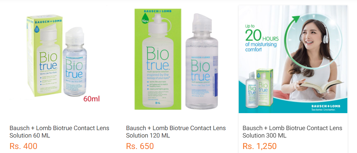 Retail Price of Biotrue contact lens solution in Nepal