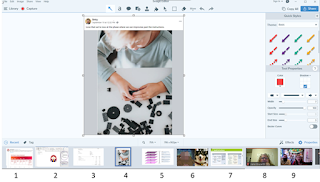 Screenshot showing snagit tray with 9 numbered items