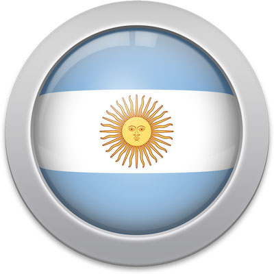 Argentine flag icon with a silver frame
