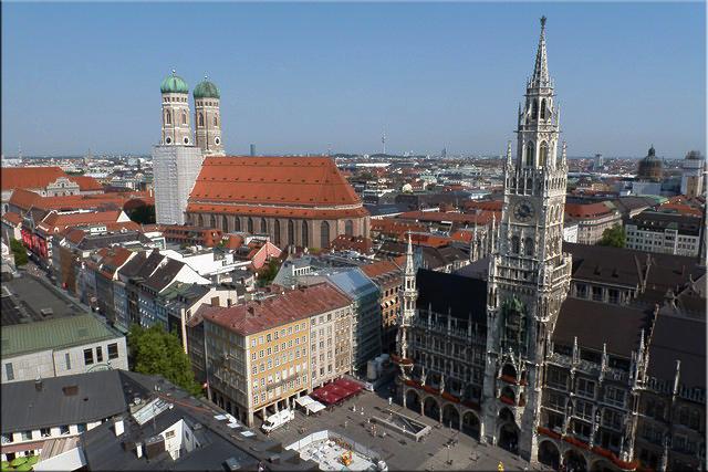 Panorámica de Marienplatz desde la torre de Peterskirche