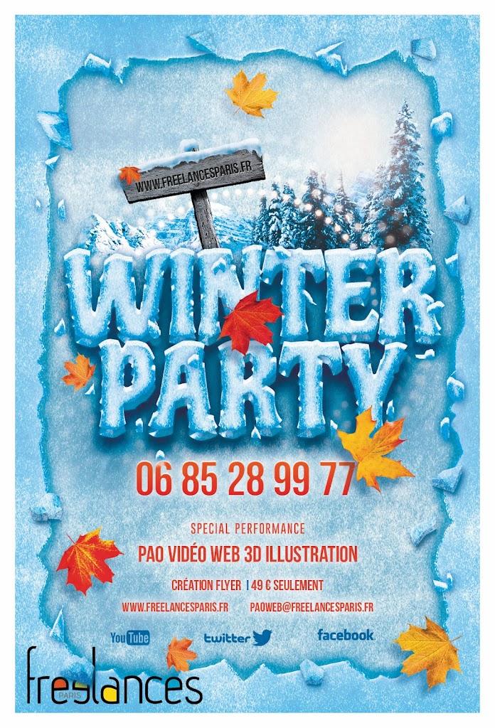 création flyers soirées thème Winter Party