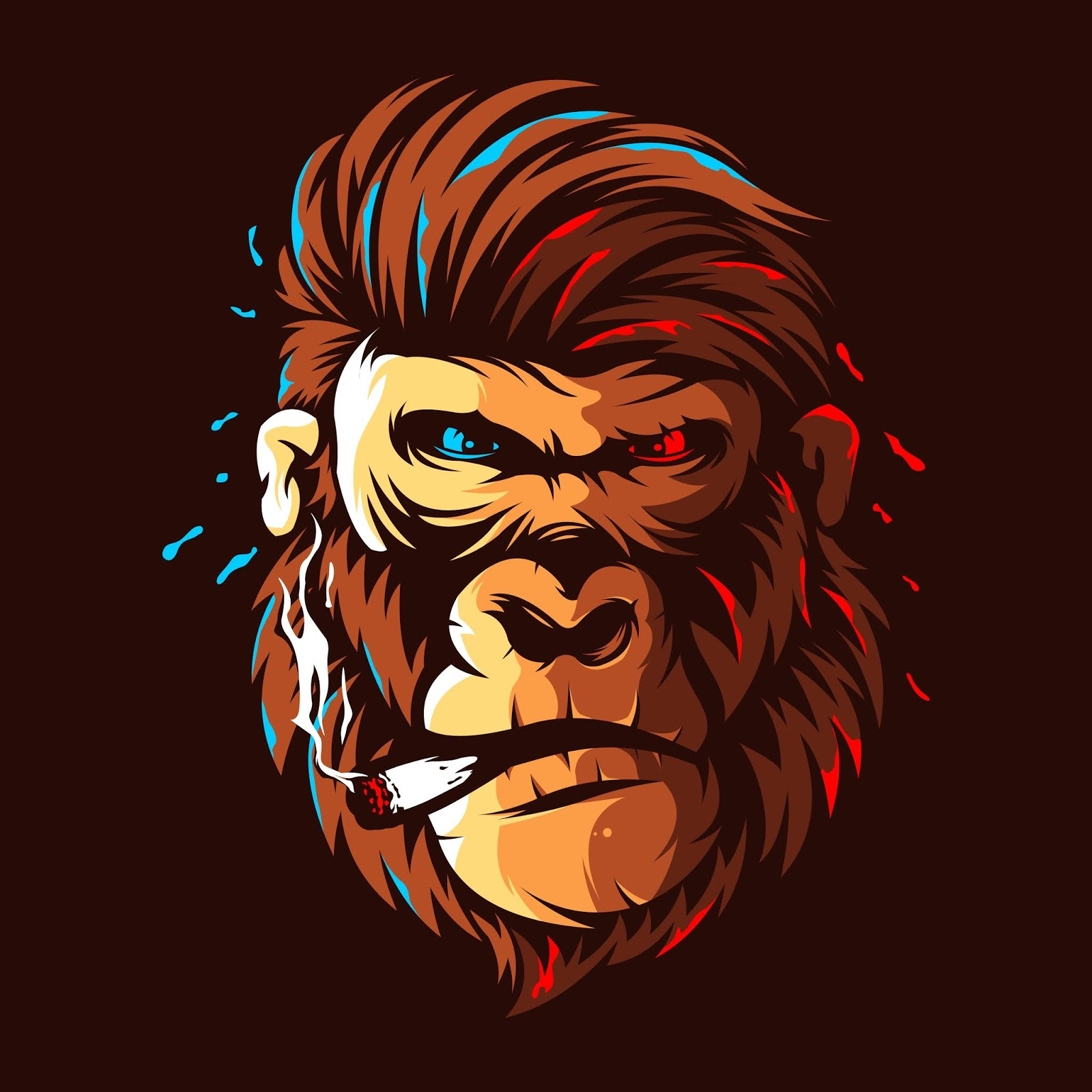 Gorilla Head Illustration Colour Logo Design Free Download Vector CDR, AI, EPS and PNG Formats