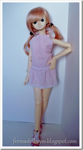 Of Bjd Fashion: Pretty and Pink and Short?: Cute pink halter top and matching skirt for msd sized ball jointed doll.