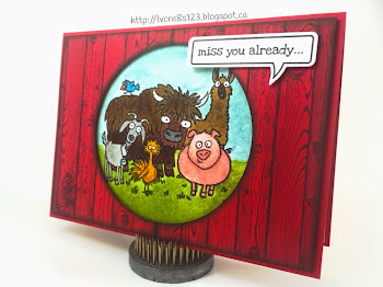 "Linda Vich Creates: A Sad Goodbye. A watercolored From The Herd image peeks through a circular opening in a Hardwood stamped matte, giving a ""barn wood"" feel to this good bye card."