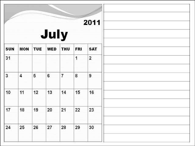 june july calendar 2011 - photo #9