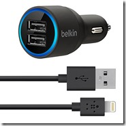 Belkin Dual USB Car Charger with Lightening Cable