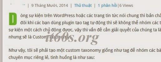 """Cách tạo """"Drop cap"""" cho bài viết Wordpress 4"""