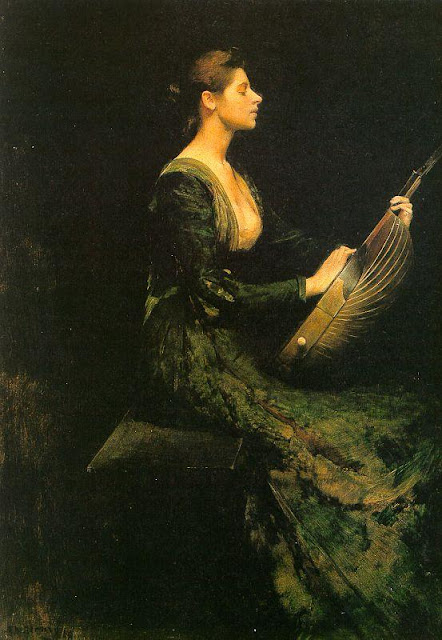 Thomas Dewing - Lady with a Lute
