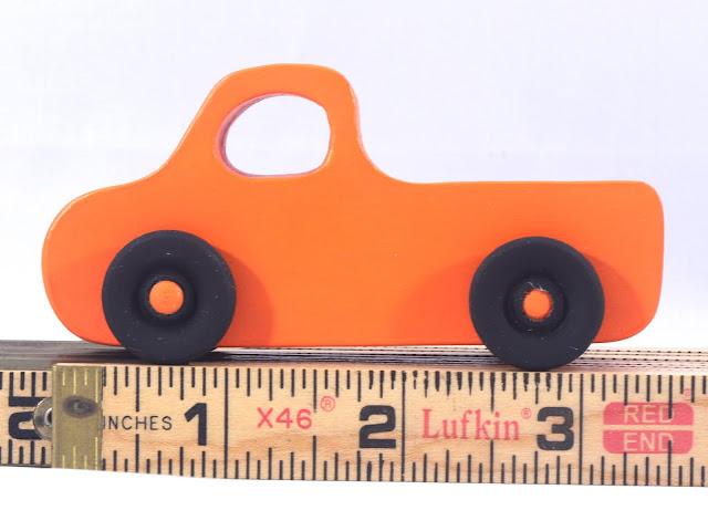 Handmade Wood Toy Pickup Truck Pumpkin Orange With Flat Black Wheels