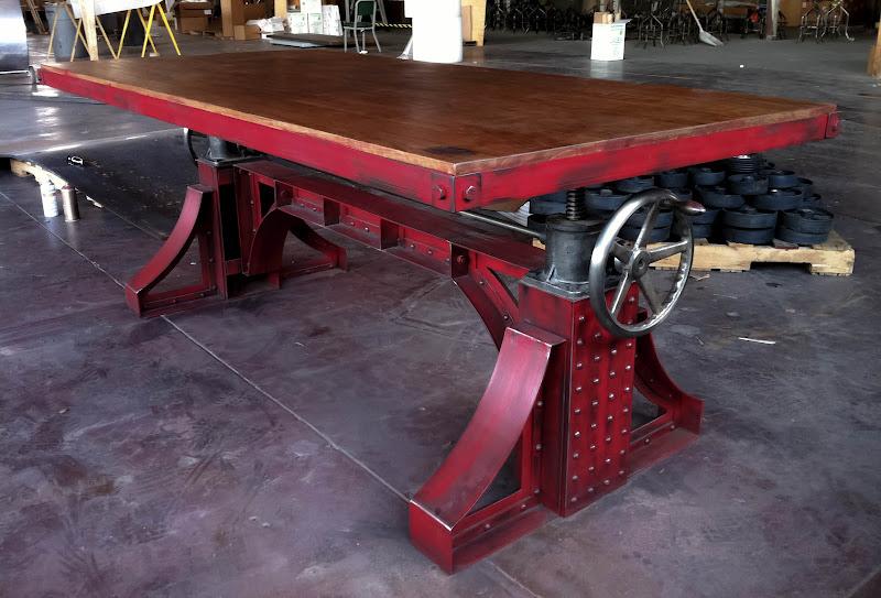 Vintage industrial bronx adjustable height table desk for Vintage crank table