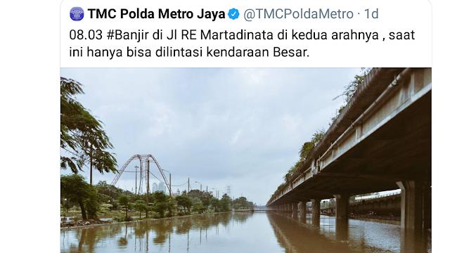 Akun TMC Polda Metro Jaya Unggah Foto Banjir, Komika: Kenapa yang Difoto Malah Kalinya?