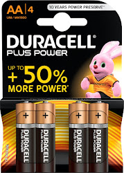 Duracell Plus Power Alkaline AA Batteries - 4 Pack