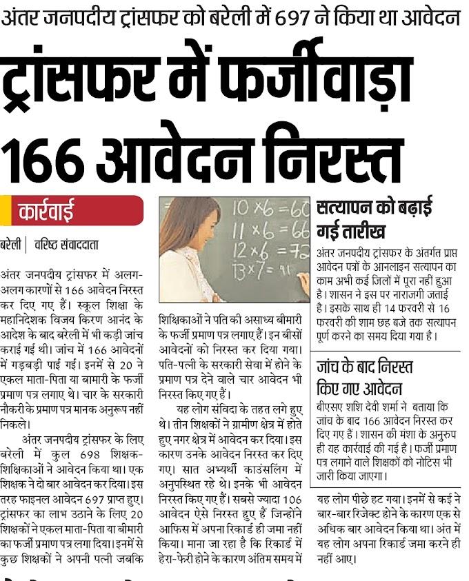 Bareilly : ट्रांसफर में फर्जीवाड़ा 166 आवेदन निरस्त, अंतर्जनपदीय के लिए 697 शिक्षकों ने किया था आवेदन