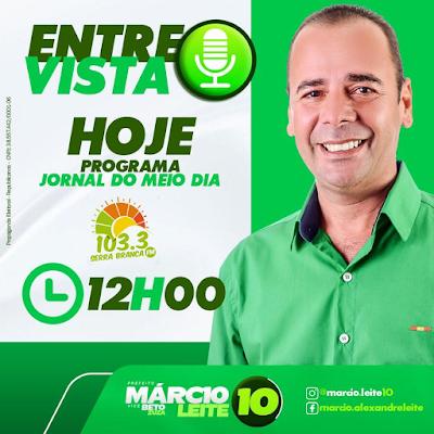 Márcio Leite é o entrevistado da Serra Branca FM hoje falando sobre sua candidatura em São João do Tigre