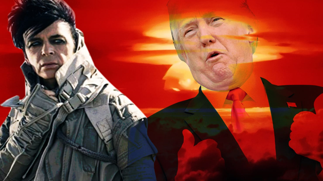 "English musician Gary Nuyman and Donald Trump. Numan says Trump's ""stupidity"" on climate change became his inspiration for the new album, 'Songs From a Broken World'. Graphic: The Daily Beast"