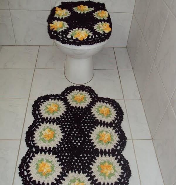 Jogo De Banheiro Amarelo Com Vermelho : Nety croche jogo de banheiro amarelo com preto