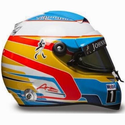 Pochi cambiamenti per il casco di Fernando Alonso, sempre legato alle Asturie e alla Spagna