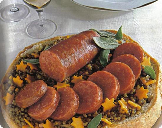 Cotechino e lenticchie nel pane