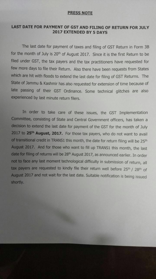 Due date of payment and gstr 3b extended to 25th august for Table 6 of gstr 3b