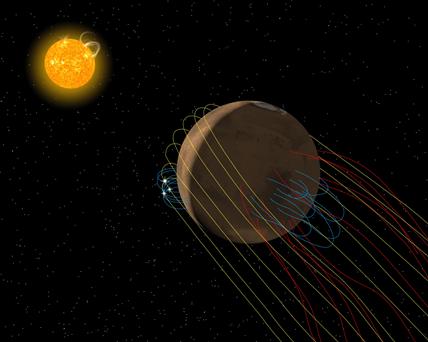 ilustração do campo magnético de Marte