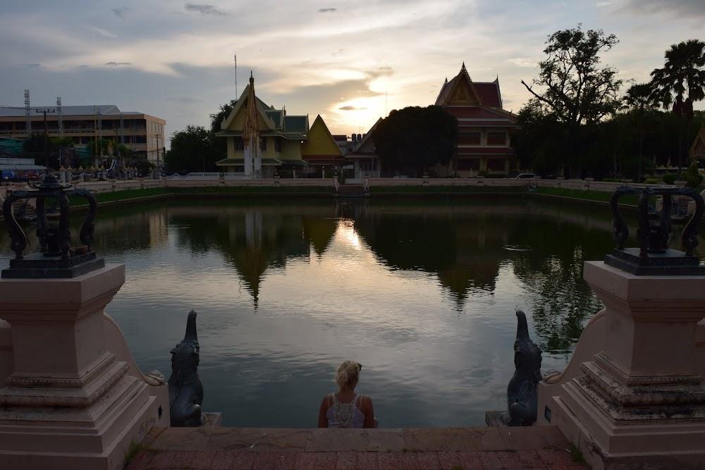 Amazing sunset at Wat Klang Phra Aram Luang, in historical part of Buriram.