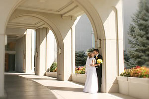 Photo of Traci and Brian on August 20, 2005 at the Mount Timpanogos Temple in American Fork, UT. Photo courtesy of Brian Brown.