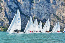 J/70 one-design sailboat- sailing on Lake Garda, Italy