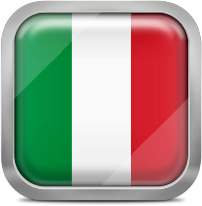 Italy square flag with metallic frame