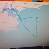 Image showing the track of Poole all-weather lifeboat on 10 August 2014 after launching to a yacht with engine failure and damaged sails. The symbols on the image show that there was a constant westerly wind of 25 knots (29mph) (and a wave height between 3 and 4m). 10 August 2014 Photo: RNLI Poole