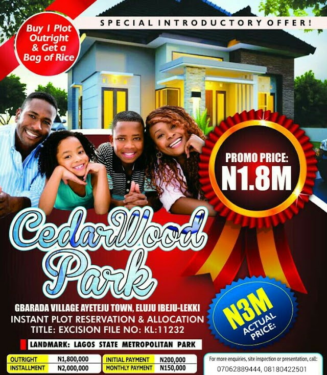 CEDARWOOD PARK, AYETEJU TOWN, IBEJULEKKI, LAGOS(LAND FOR SALE)