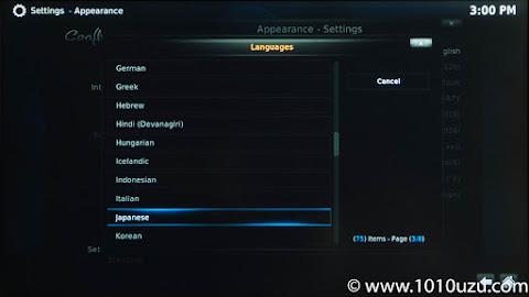 言語にてJapaneseを選択