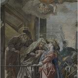 Opravená freska Navštivení Panny Marie