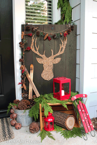 Winter front porch with rustic elements