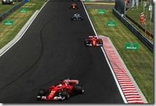 Le due Ferrari precedono una Mercedes nel gran premio d'Ungheria