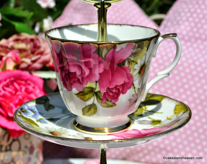 Floral Beauty cake stand teacup and saucer top