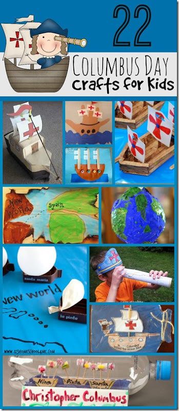 22 fun, creative Columbus Day Crafts for kids of all ages. Great for school classrooms, homeschool, preschool, kindergarten, first grade, 2nd grade, 3rd grade and more. Perfect kids activities for october