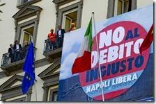 Striscione no al debito