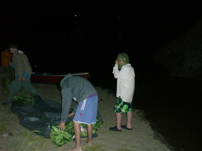 The boys decided it was better to move the tent