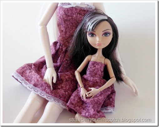 An Ever After HIgh doll in her new dress
